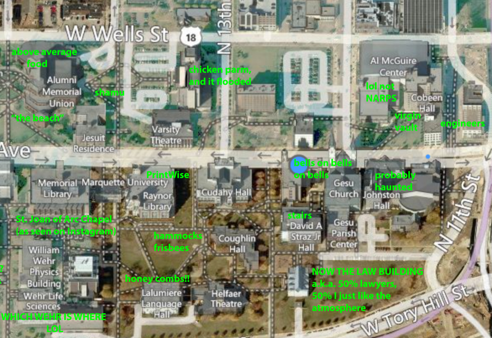 Marquette University Map A Judgmental Map Of Marquette University Marquette University Map
