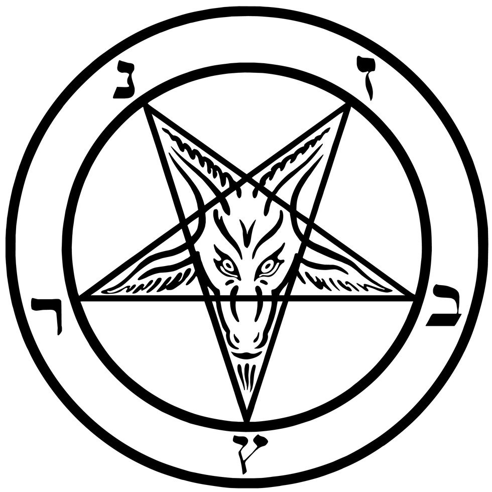 The pentacle of Satanism is an inverted pentagram, meant to represent the  head of a goat. The two upward-facing points are meant to resemble the  horns of a ...
