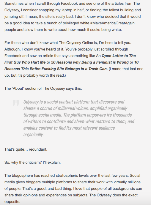 A response to an open letter to the odyssey online like odyssey on facebook expocarfo