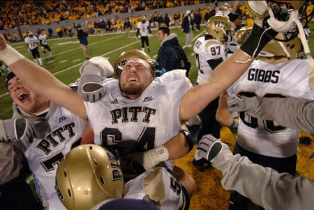 On The 100th Edition Of The Backyard Brawl On December 1, 2007, Pitt Upset  WVU AT West Virginia, Knocking Them Out Of The BCS National Championship  Game.