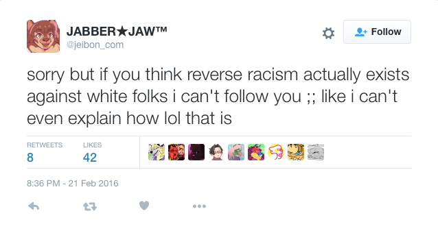 Can you be racist to white person