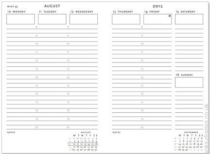 monday thru friday schedule template