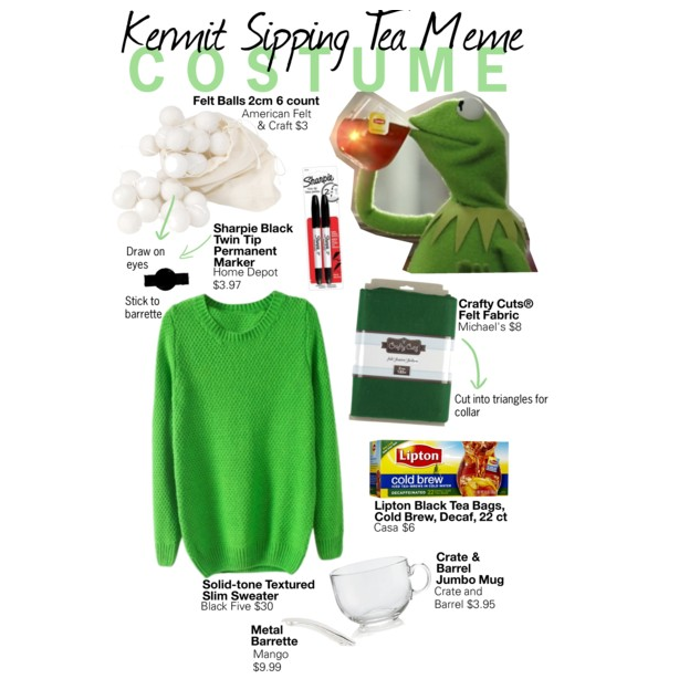 how to draw kermit drinking tea