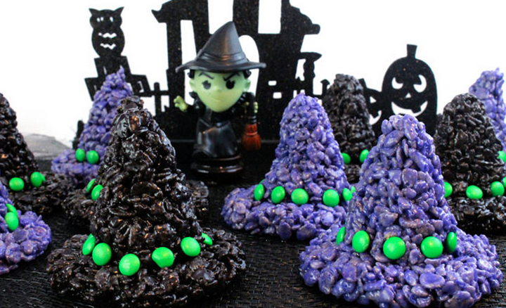 has a recipe for rice krispy treats witch hats that will get you feeling immediately in the holiday spirit the recipe is easy enough for