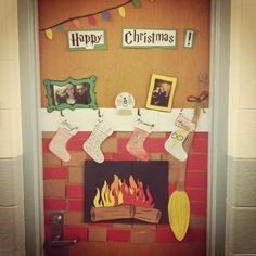 decorate your door like a fireplace or wrap it up like a present you can use leftover construction or wrapping paper some other ideas are a gingerbread - Christmas Dorm Door Decorations