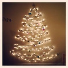 you can save more space by using lights and ornaments on the wall than you would buying a full size christmas tree you can also make your own glitter