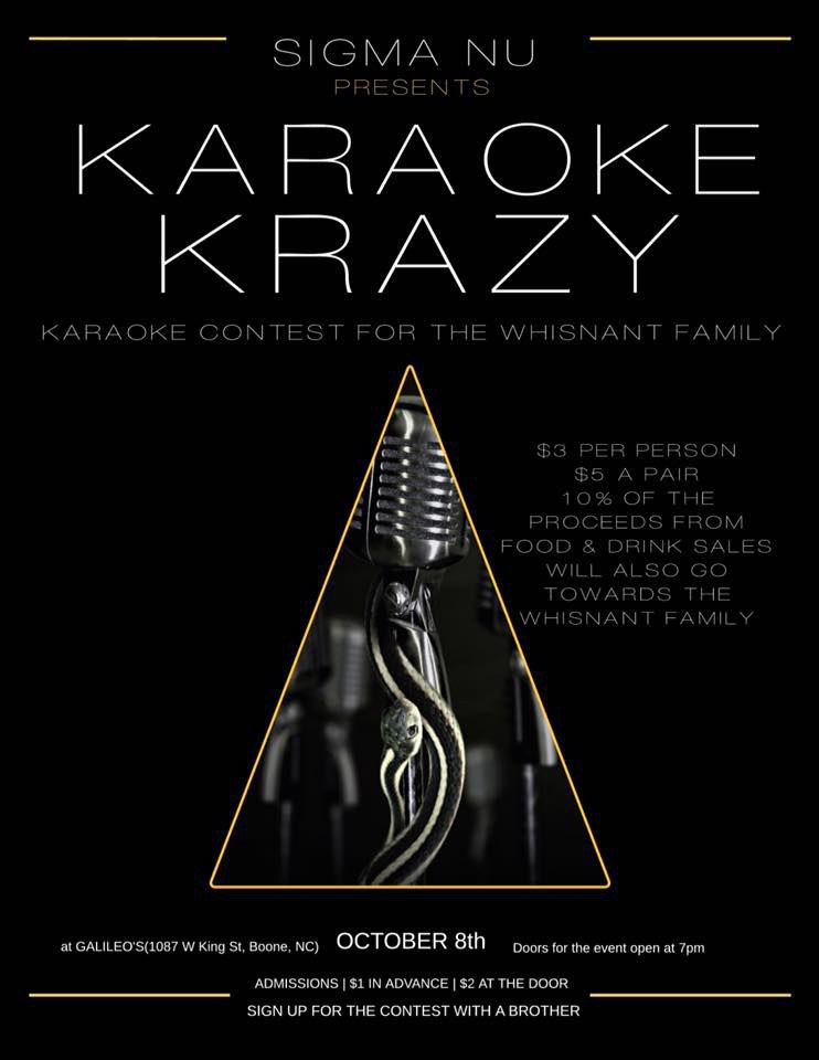 Sigma Nu To Host Karaoke Competition To Benefit The Whisnant