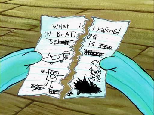 spongebob driving school essay episode Spongebob devises an elaborate scheme to hasten his graduation from mr puff's boating school.