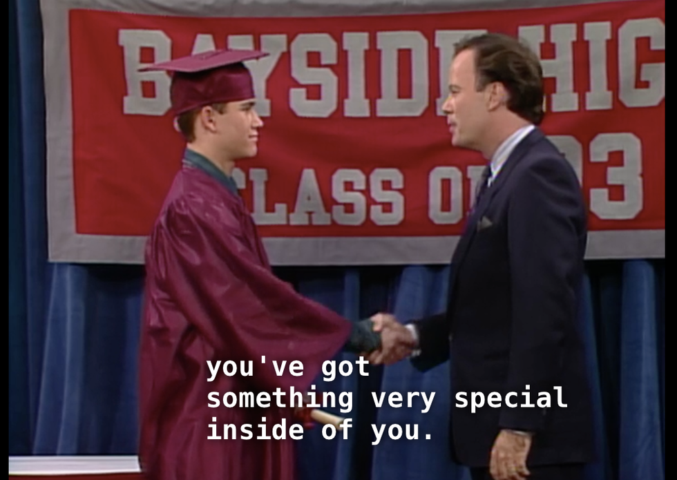 Image result for zack morris mr belding last scene graduation
