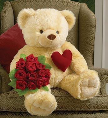 a giant teddy bear and a card