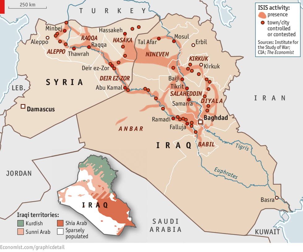 currently isis controls a geographic area larger than the united kingdom as evidenced by this map supplied by the institute for the study of war in