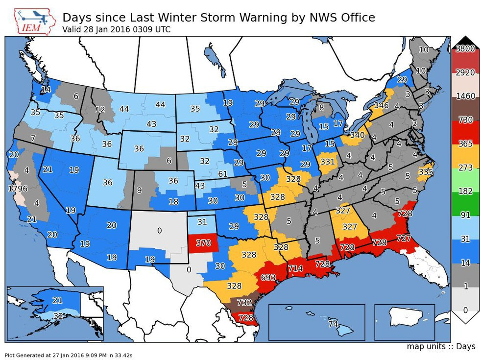 blizzard and winter storm warnings stretched across many states reaching up into new england and down towards tennessee kentucky and even parts of