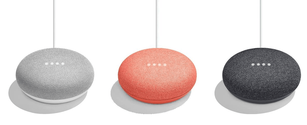 Google Home Mini in a row.