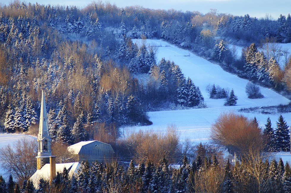 Morning Winter Ski Trails in Quebec