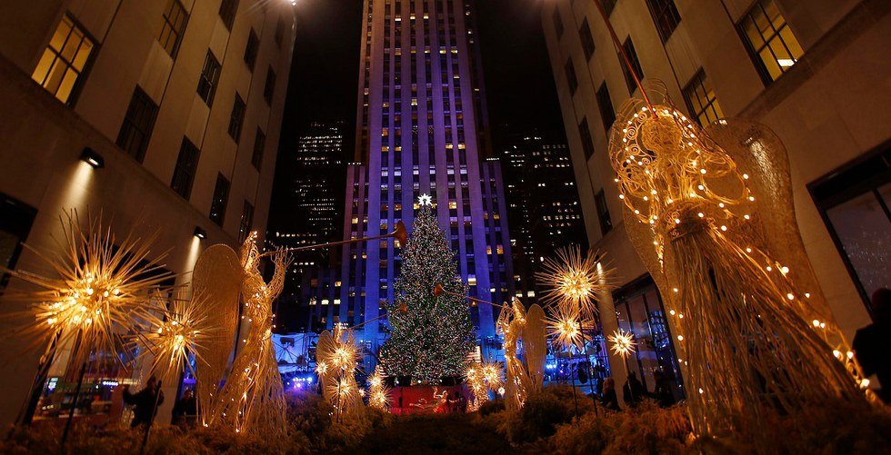 The tree is seen during the 80th Annual Rockefeller Center Christmas Tree Lighting Ceremony in New York