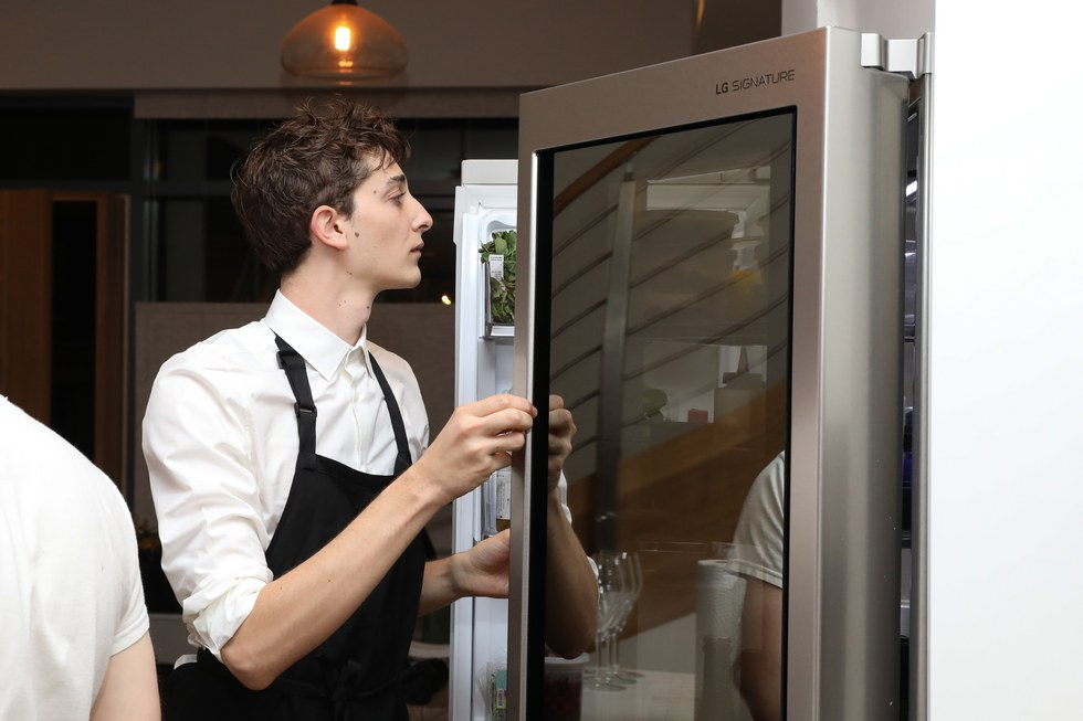 LG SIGNATURE InstaView™ Door-in-Door® Counter-Depth Refrigerator hard at work in Pith Supper Club