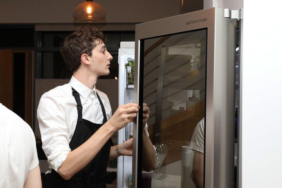 LG SIGNATURE InstaView™ Door-in-Door® Counter-Depth Refrigerator hard at work in Pith Supper Club
