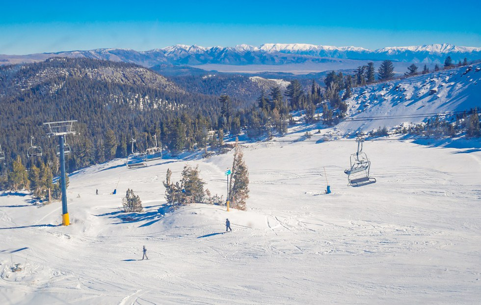 Aerial of skiers at Mammoth Mountain in California