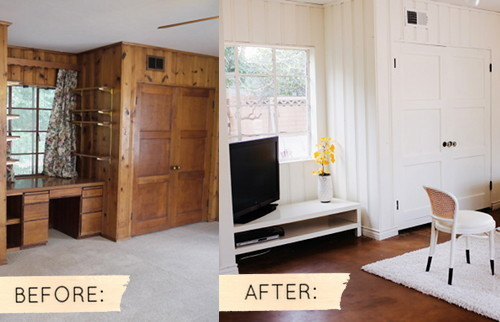 Before And After Dated Wood Paneling Gets A Coat Of Light