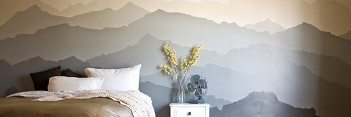 Before and after mountain range paint idea mural the snug for Diy mountain mural