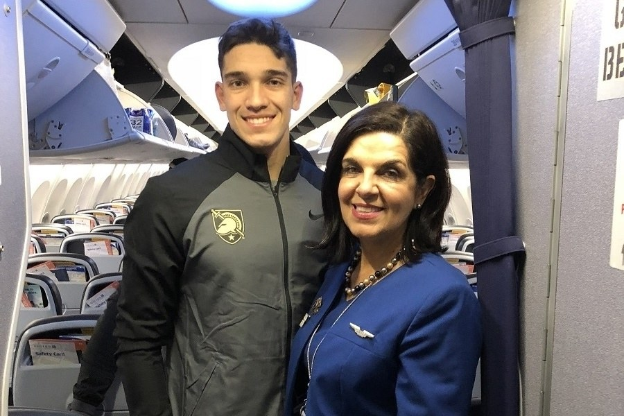 United employee and her son on the Army Charter flight