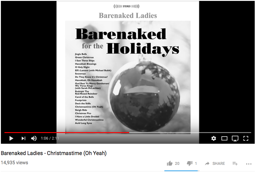 "2. ""Christmastime (Oh Yeah)""- Barenaked Ladies"