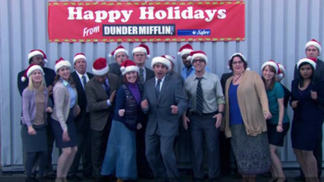 them not being able to correctly jump in the christmas photo and never actually - The Office Classy Christmas