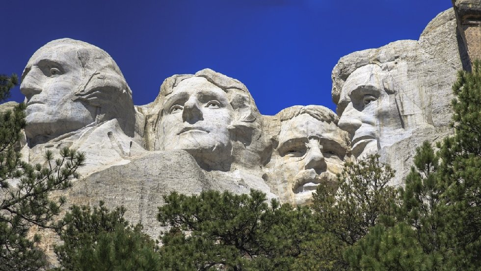 The four presidents at Mount Rushmore in South Dakota.