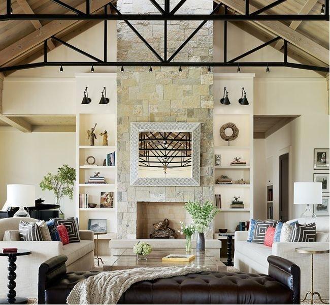 Leather Bench: Cisco Home; Rug: Merida; Sofa: Custom By Kroll Furniture;  Coffee Tables: Custom By Statsky Design; Side Tables: Oly; Mirror: Randolph  U0026 Hein; ...
