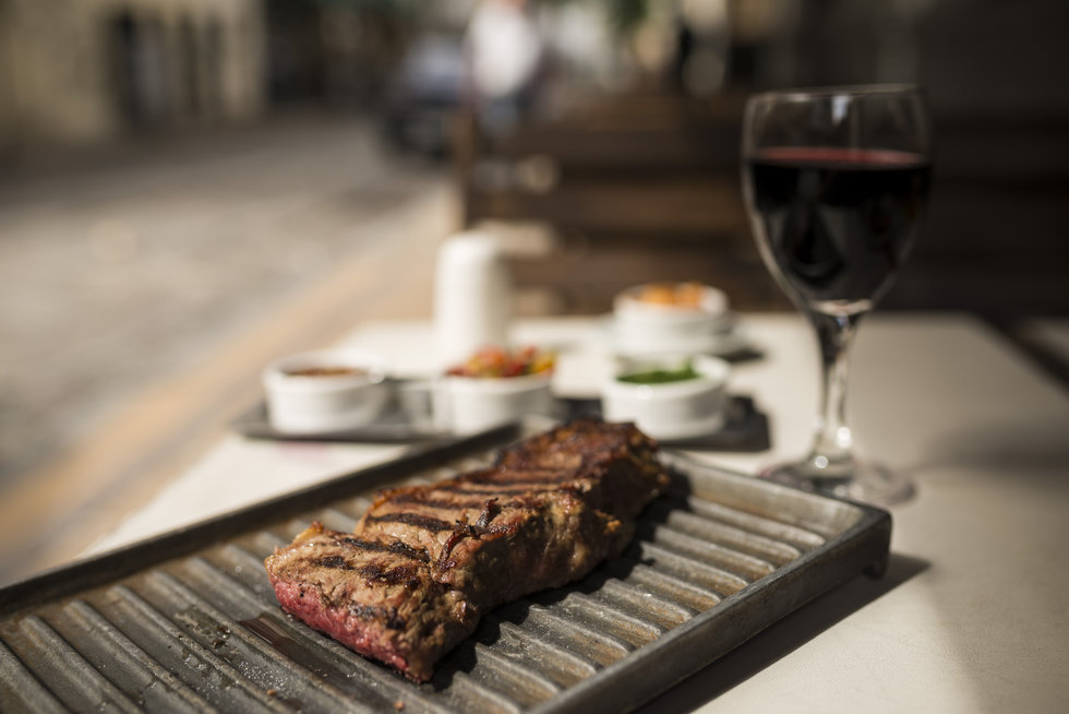 Steak and wine at a local parrillas (steakhouse)