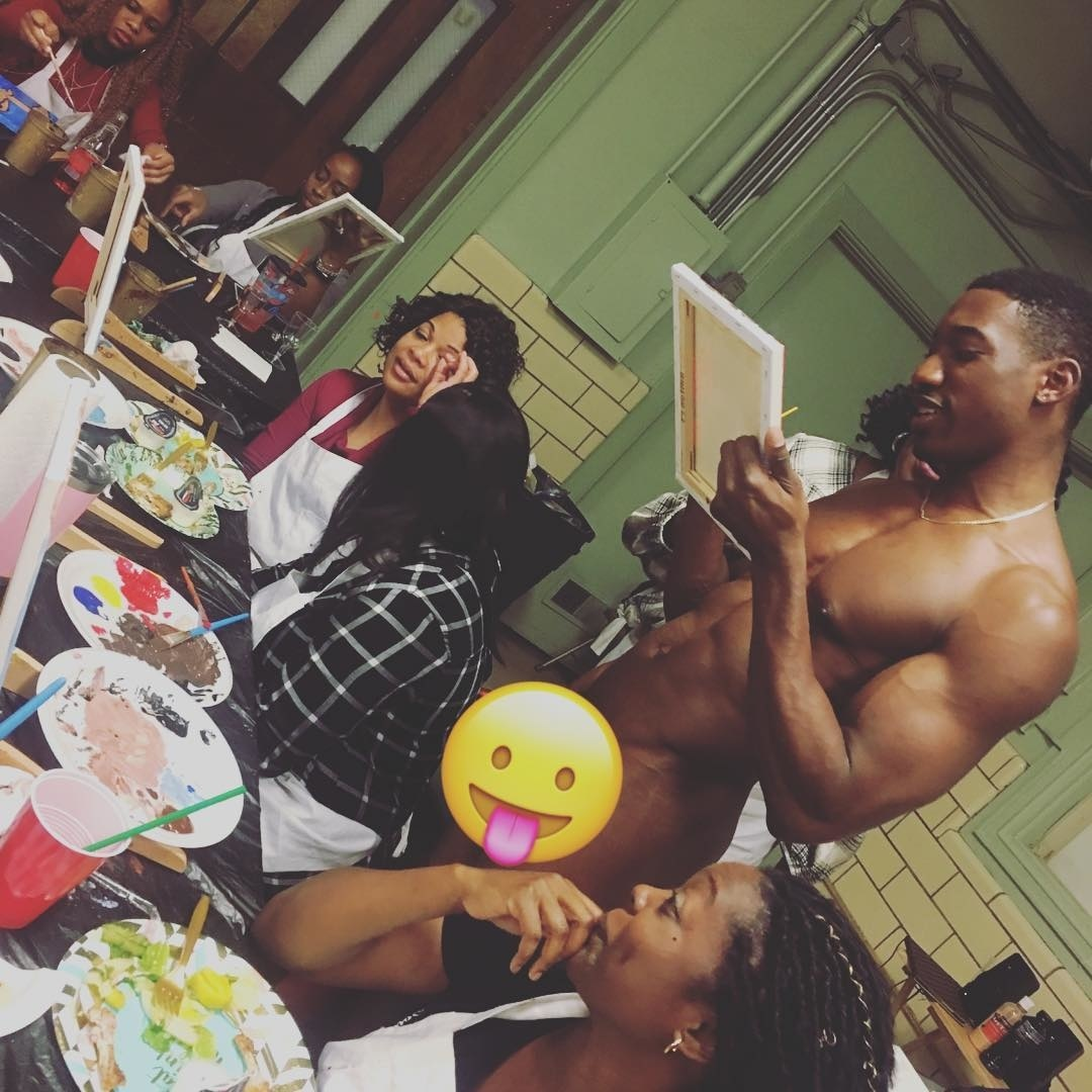 Angie Stone Nude booze & nudes: i took a sip & paint class full of naked men