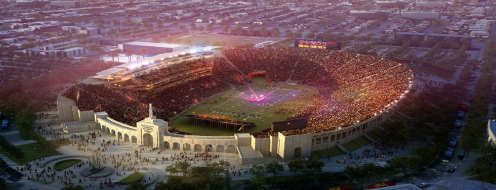 Aerial view of USC stadium renovations