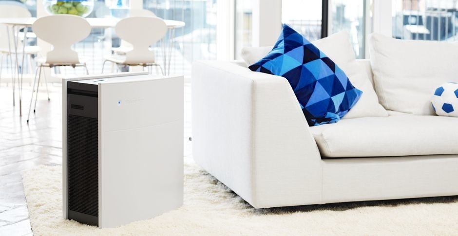 Picture of Blueair Classic Air Purifier in a living room.