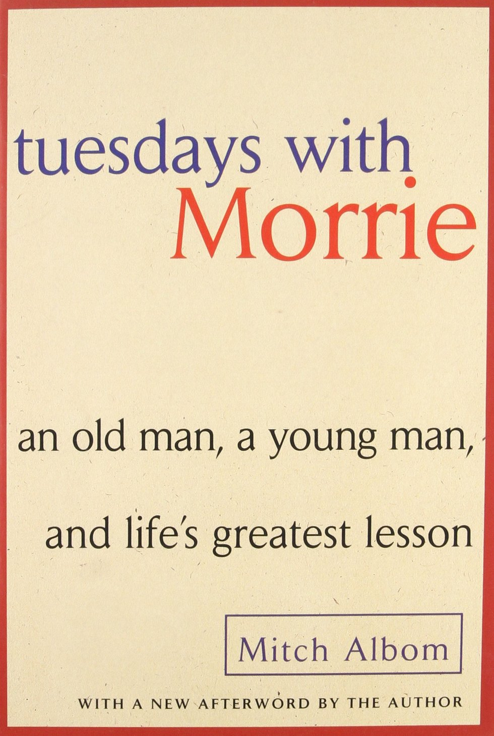 tuesdays with morrie book report Bookreport tuesdays with morrie: an old man, a young man, and life's greatest lesson by mitch albom submit by: jonick boguat submit to: christelyn mandaya sti.