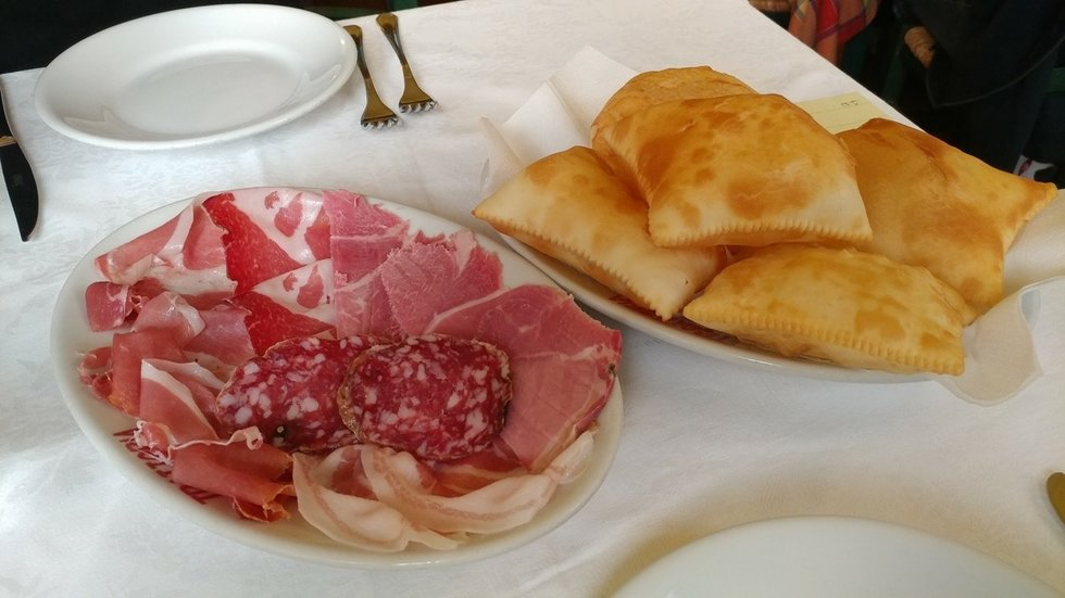 Parma ham and fried bread in Parma