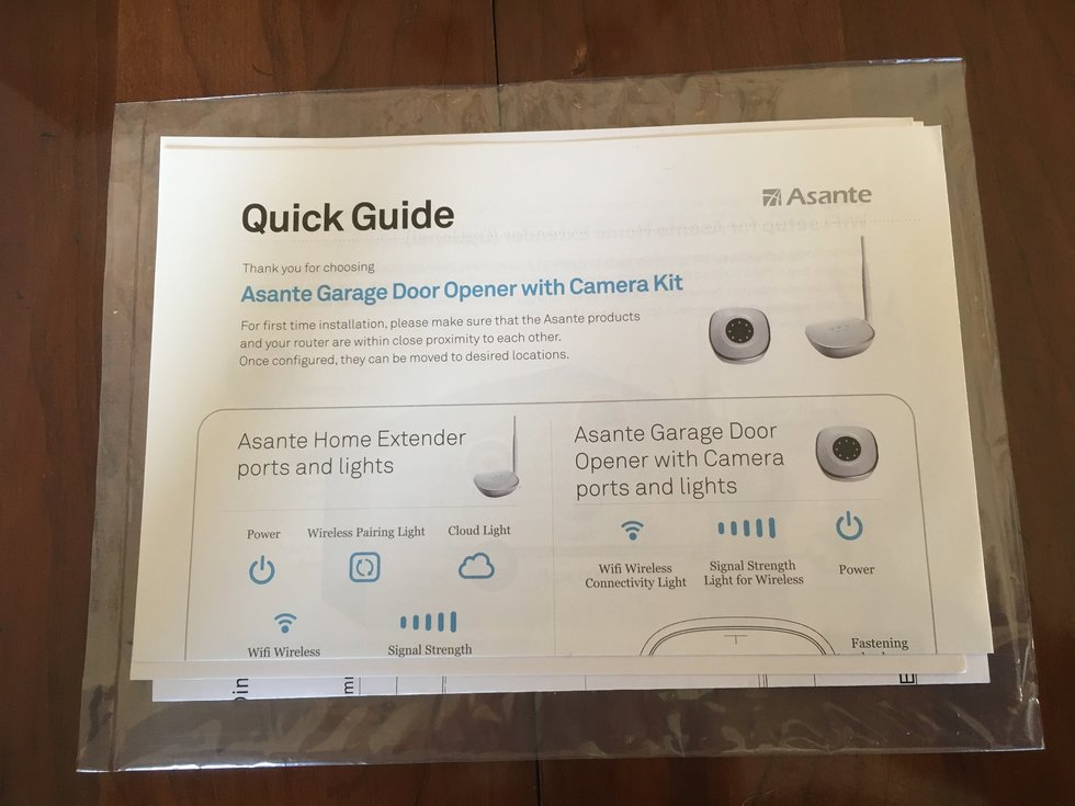 Asante Garage Door Opener with Camera Kit Setup Guides