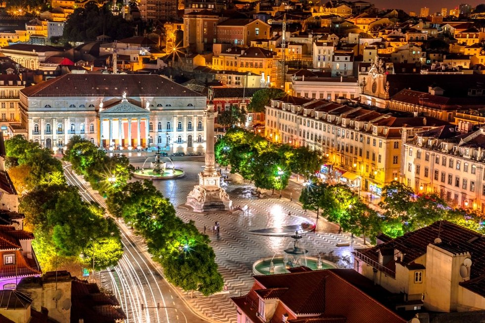 Aerial of Baixa Pombalina at night