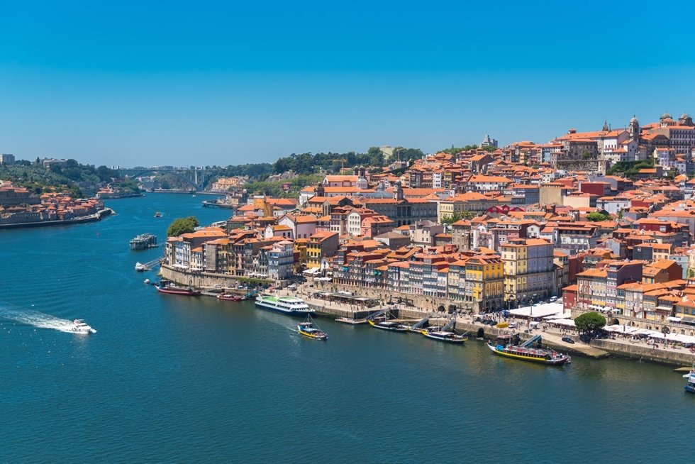 View of homes along the Porto waterfront