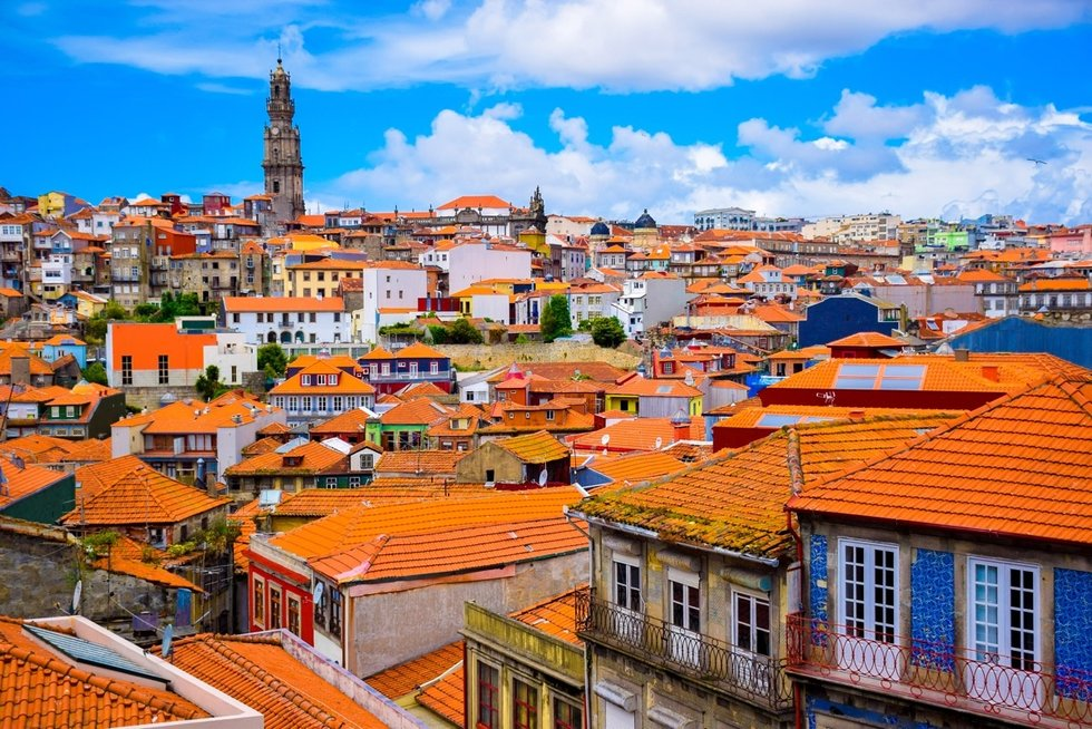 Aerial view of the brightly colored Porto rooftops
