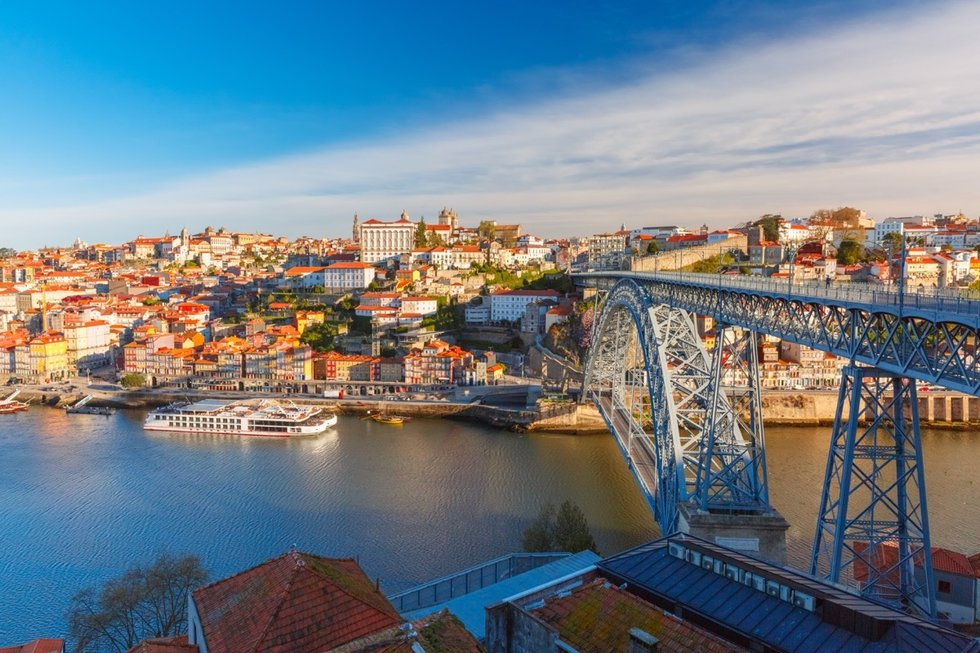 View of the multi level bridge in Porto
