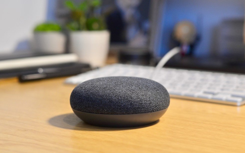 Google Home Mini on a desktop.