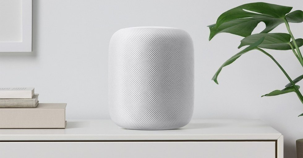 Apple Homepod on a tabletop.