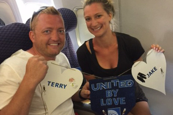 Two married United passengers that met on our flight.