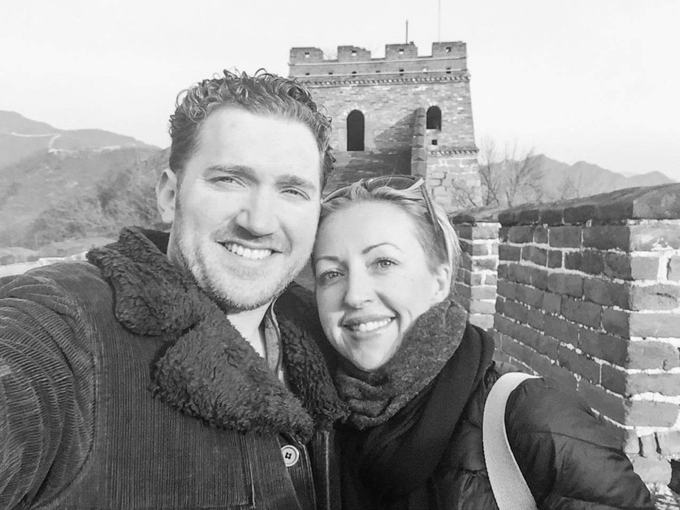 United couple at the Great Wall of China