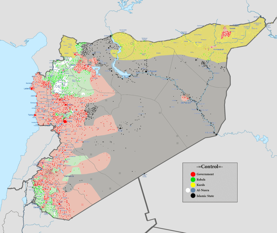 map of syrian civil war as of february 2016