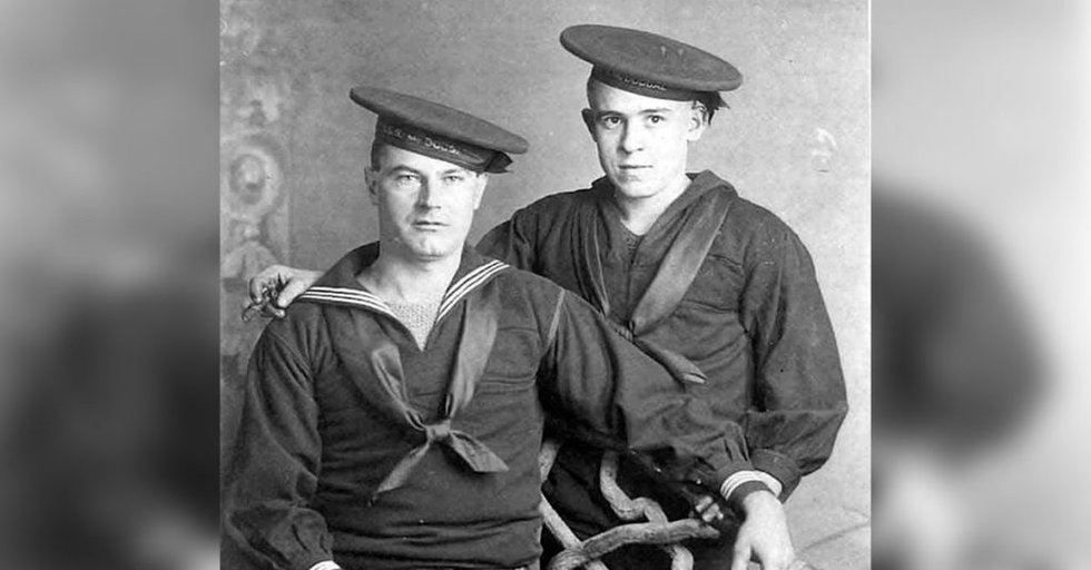 These two sailors wearing the classic flat hats and enjoying cigars were  assigned to the destroyer USS McDougal during the Great War in 1918. b05ef5885
