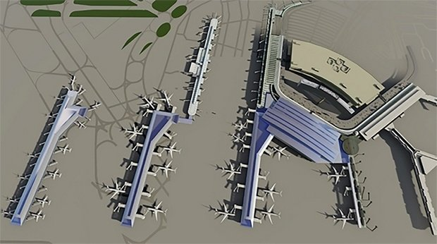 graphic view of the new additions to O'Hare International Airport