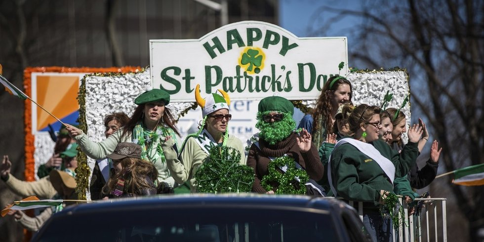 People on a float in St. Patrick's Day parade in Boston