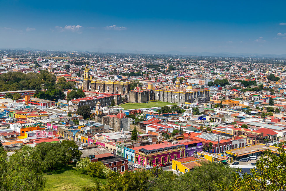 Aerial view of Cholula, Puebla, Mexico