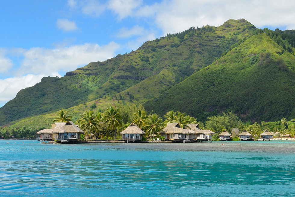 Luxury thatched roof bungalows on Moorea